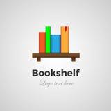 Concetto di logo dello scaffale per libri Fotografia Stock