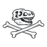 Concetto di logo di Dino di preistoria Progettazione delle insegne di T-rex Illustrazione giurassica del dinosauro Concetto della Immagine Stock
