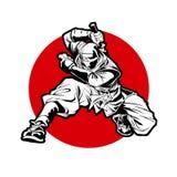 Concetto di logo di sport del Giappone Ninjas Progettazione delle insegne dell'arma di Katana fotografia stock libera da diritti