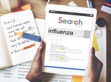 Concetto di malattia di influenza di febbre di influenza Fotografia Stock Libera da Diritti