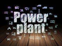 Concetto di Manufacuring: Centrale elettrica nella stanza scura di lerciume Fotografie Stock Libere da Diritti