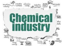 Concetto di Manufacuring: Industria chimica su fondo di carta lacerato Fotografie Stock Libere da Diritti
