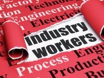 Concetto di Manufacuring: lavoratori neri di industria del testo nell'ambito del pezzo di carta lacerata Fotografia Stock Libera da Diritti