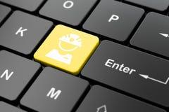 Concetto di Manufacuring: Operaio sul fondo della tastiera di computer illustrazione di stock