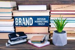 Concetto di marca Progettazione, vendita e fiducia fotografia stock libera da diritti