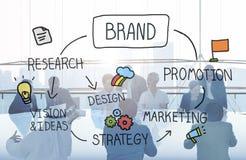 Concetto di marchio di fabbrica di progettazione marcante a caldo di pubblicità di marketing del marchio fotografia stock libera da diritti