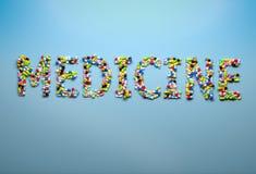 Concetto di medicina e della sanità Medicina di parola compitata con la c Immagini Stock