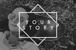 Concetto di memoria di momenti di vita di storia di Yor Immagine Stock