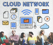 Concetto di memorizzazione dei dati di dati di connessione di rete della nuvola Immagini Stock