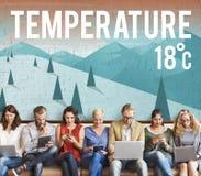 Concetto di meteorologia di notizie di previsione di temperatura dell'aggiornamento del tempo fotografie stock