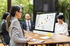Concetto di modello di Flow Chart Icon di analisi Immagini Stock