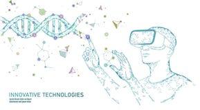 Concetto di modificazione del gene di biologia di scienza Vetri olografici di realtà virtuale della proiezione della cuffia avric illustrazione vettoriale