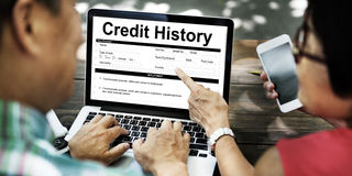 Concetto di modulo informazioni di pagamento della fattura di storia di credito Fotografia Stock