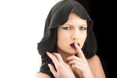 Concetto di morte e di religione Sguardo e skincare di trucco sensuali della ragazza Modello di moda con trucco della ragazza mis Fotografia Stock Libera da Diritti