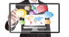 Concetto di multimedia dell'uomo d'affari Immagine Stock