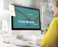 Concetto di multimedia della parte della rete della nuvola di tecnologia Fotografie Stock Libere da Diritti