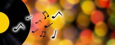 Concetto di musica, disco e nota di musica Immagini Stock Libere da Diritti
