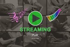 Concetto di musica e di video flusso continuo immagine stock