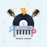 Concetto di musica Manifesto musicale di progettazione con il collo della chitarra, delle note, dell'annotazione e del sintetizza Fotografia Stock