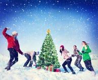 Concetto di Natale degli amici di inverno di lotta della palla di neve di Natale Fotografie Stock