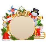 Concetto di Natale di vettore con le bagattelle Immagine Stock