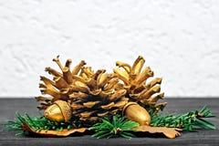 Concetto di natura morta con le decorazioni dorate Immagini Stock Libere da Diritti