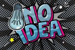 Concetto di nessun'idea come luce fuori Messaggio nessun'idea con la lampadina nello stile di Pop art illustrazione di stock