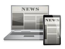 Concetto di notizie con il giornale di affari sullo schermo Immagine Stock