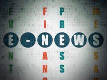 Concetto di notizie: E-notizie di parola nella soluzione delle parole incrociate Fotografia Stock Libera da Diritti