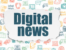 Concetto di notizie: Notizie di Digital su fondo di carta lacerato Fotografia Stock