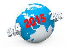 Concetto di nuovo anno 3d numero 2015 intorno al globo della terra Fotografie Stock