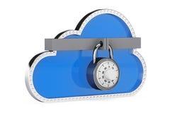 Concetto di obbligazione del Internet nuvola 3d con il lucchetto Fotografie Stock