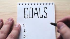Concetto di obiettivi Concetto di idea di motivazione Vista superiore video d archivio