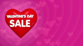 Concetto di offerta di sconto di giorno di biglietti di S. Valentino, grande cuore rosso volante 3D con iscrizione illustrazione di stock