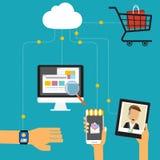 Concetto di OMNI-Manica per l'introduzione sul mercato digitale e l'acquisto online I royalty illustrazione gratis