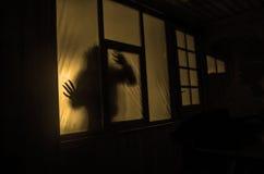 Concetto di orrore La siluetta di un essere umano con le armi spruzzate davanti ad una finestra La foto ha fatto il 9 agosto 2012 Immagine Stock Libera da Diritti