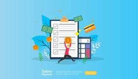 concetto di pagamento di stipendio Libro paga, indennità annuale, reddito, versamento con il calcolatore della carta e carattere  illustrazione di stock
