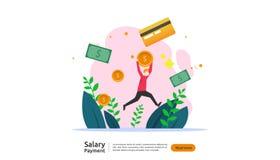 concetto di pagamento di stipendio Libro paga, indennit? annuale, reddito, versamento con il calcolatore della carta e carattere  royalty illustrazione gratis