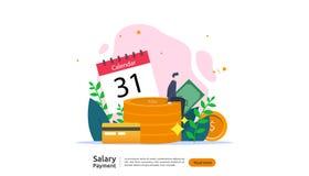 concetto di pagamento di stipendio Libro paga, indennit? annuale, reddito, versamento con il calcolatore della carta e carattere  illustrazione di stock