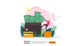 concetto di pagamento di stipendio Libro paga, indennit? annuale, reddito, versamento con il calcolatore della carta e carattere  illustrazione vettoriale