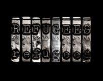 Concetto di parola dei rifugiati Fotografie Stock Libere da Diritti