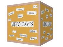 Concetto di parola di pannello di sughero del cubo dei video giochi 3D Immagine Stock Libera da Diritti