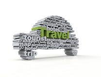 Concetto di parola di viaggio 3d illustrazione vettoriale