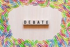 Concetto di parola di dibattito fotografie stock libere da diritti