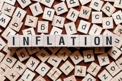 Concetto di parola di inflazione fotografia stock