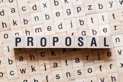Concetto di parola di proposta immagini stock libere da diritti