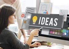 Concetto di pensieri di piano di creatività dell'innovazione di idee fotografie stock libere da diritti