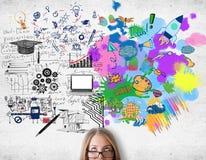 Concetto di pensiero creativo ed analitico immagini stock libere da diritti