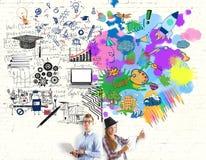 Concetto di pensiero creativo ed analitico royalty illustrazione gratis