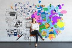 Concetto di pensiero creativo ed analitico immagine stock